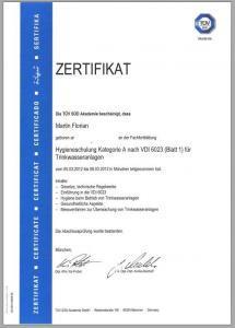 Hygiene TÜV-Schulung VDI 6023 Kat. A